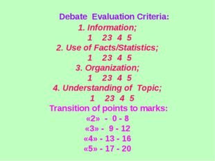 Debate Evaluation Criteria: 1. Information; 1	 2	3	4	5	 2. Use of Facts/Stat