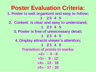 Poster Evaluation Criteria: 1. Poster is well organized and easy to follow; 1