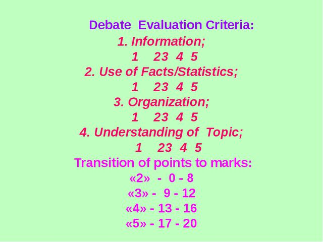 Debate Evaluation Criteria: 1. Information; 1	 2	3	4	5	 2. Use of Facts/Stat...