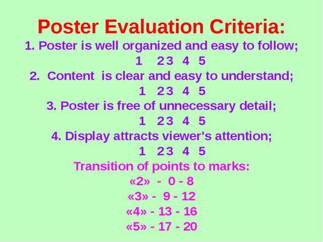 Poster Evaluation Criteria: 1. Poster is well organized and easy to follow; 1...