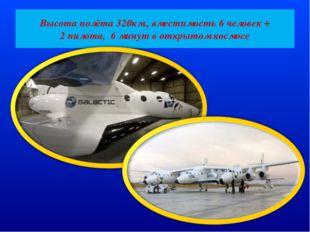 Высота полёта 320км., вместимость 6 человек + 2 пилота, 6 минут в открытом ко
