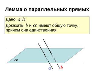 Дано: Доказать: b и имеют общую точку, причем она единственная a b Лемма о па