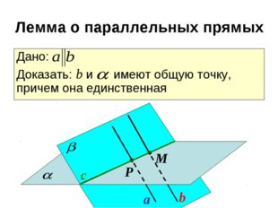 a b с Р М Дано: Доказать: b и имеют общую точку, причем она единственная Лемм