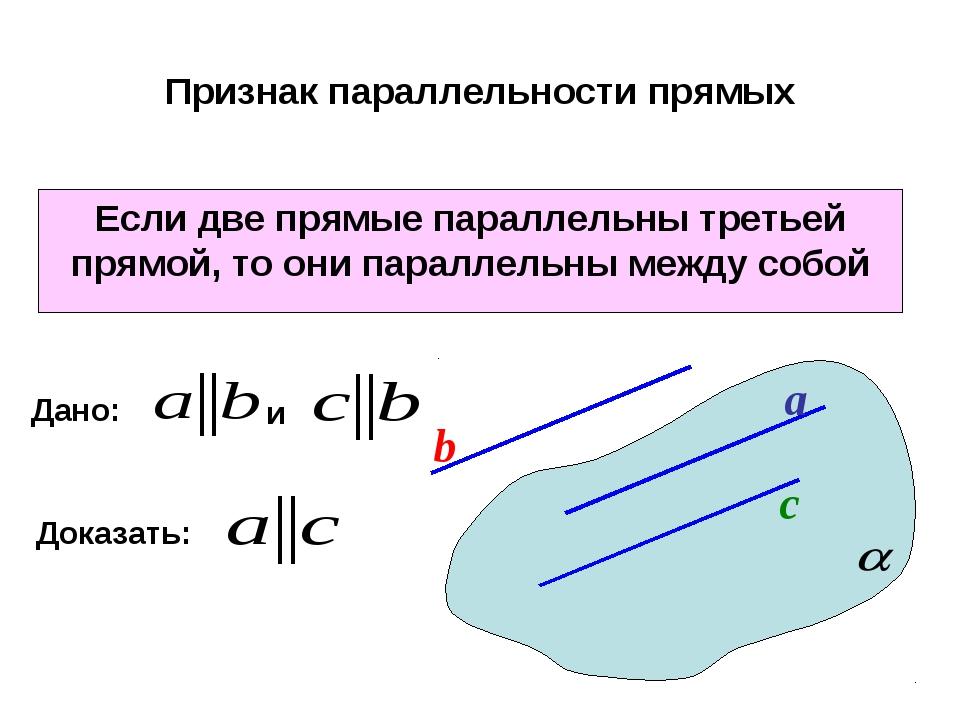 Признак параллельности прямых Если две прямые параллельны третьей прямой, то...