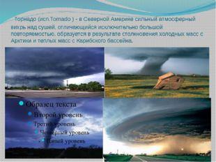 Торнадо (исп.Tornado ) - в Северной Америке сильный атмосферный вихрь над су