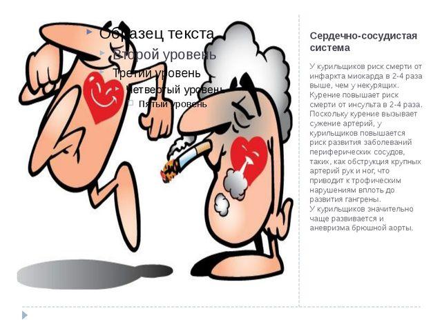 Сердечно-сосудистая система У курильщиков риск смерти от инфаркта миокарда в...