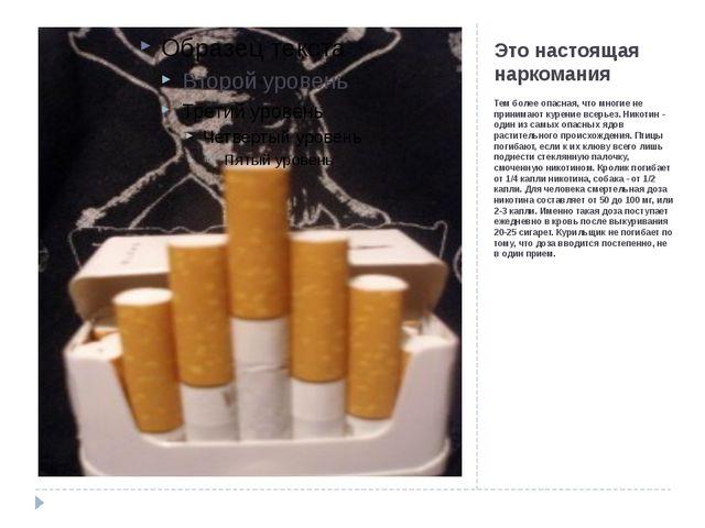 Это настоящая наркомания Тем более опасная, что многие не принимают курение в...