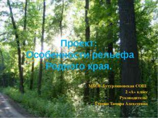 Проект: Особенности рельефа Родного края. МБОУ Бутурлиновская СОШ 2 «А» клас