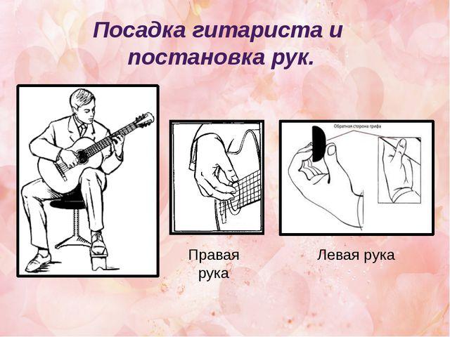 Посадка гитариста и постановка рук. Правая рука Левая рука