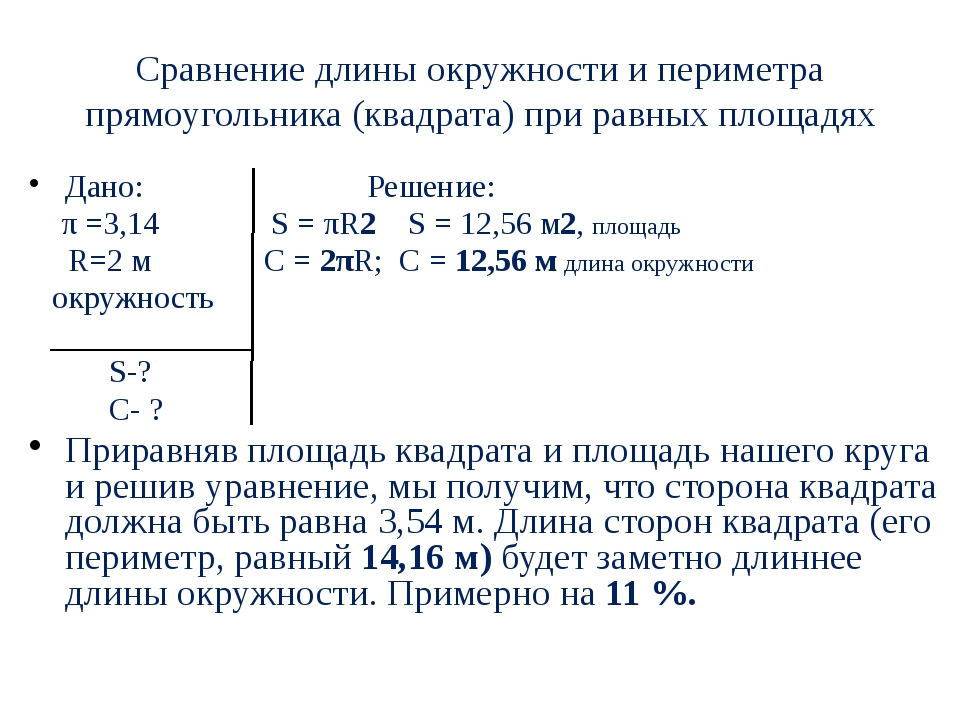 Сравнение длины окружности и периметра прямоугольника (квадрата) при равных п...