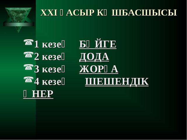 XXI ҒАСЫР КӨШБАСШЫСЫ 1 кезең БӘЙГЕ 2 кезең ДОДА 3 кезең ЖОРҒА 4 кезең ШЕШЕ...