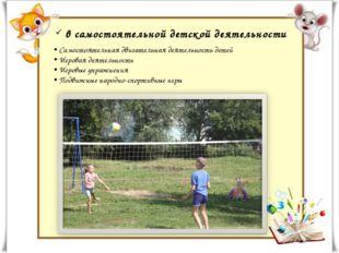 в самостоятельной детской деятельности Самостоятельная двигательная деятельн