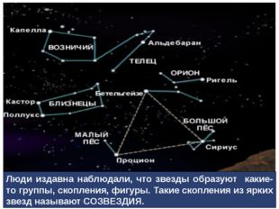 Люди издавна наблюдали, что звезды образуют какие-то группы, скопления, фигур