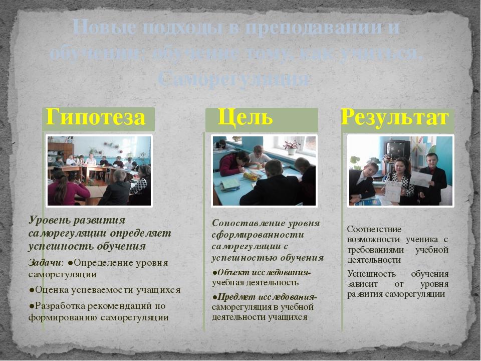 Новые подходы в преподавании и обучении: обучение тому, как учиться. Саморег...