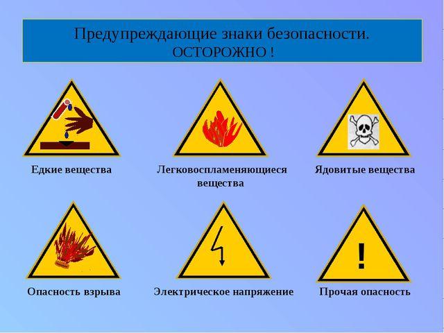 Предупреждающие знаки безопасности. ОСТОРОЖНО ! Едкие вещества Опасность взры...