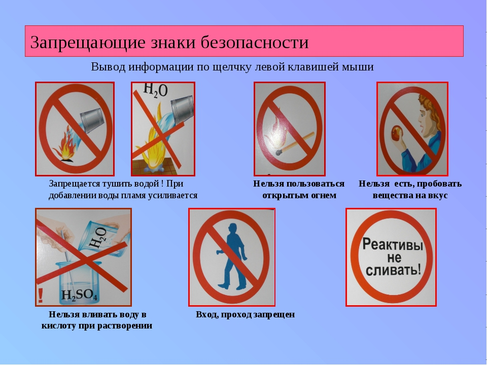 Запрещающие знаки безопасности Запрещается тушить водой ! При добавлении воды...