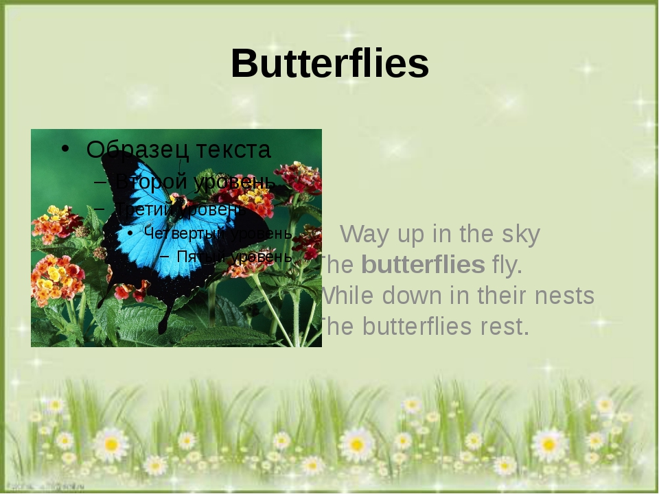 Вutterflies Way up in the sky The butterflies fly. While down in their nests...