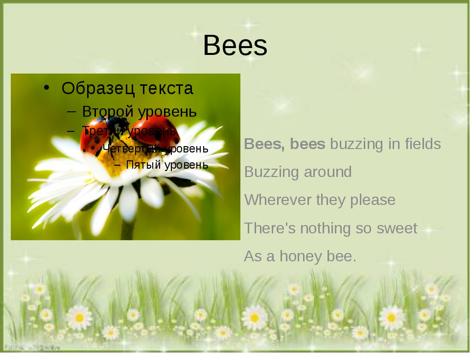Bees Bees, bees buzzing in fields Buzzing around Wherever they please There's...