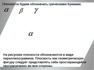 Плоскости будем обозначать греческими буквами. На рисунках плоскости обознач