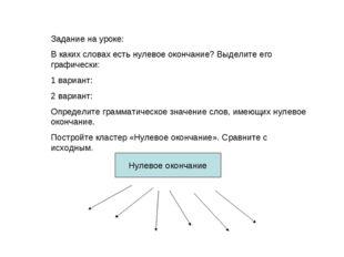Задание на уроке: В каких словах есть нулевое окончание? Выделите его графиче