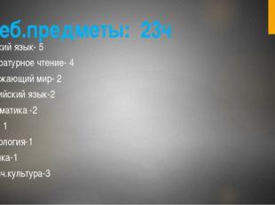 Учеб.предметы: 23ч Русский язык- 5 Литературное чтение- 4 Окружающий мир- 2 А