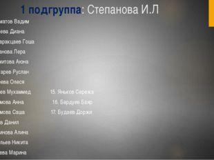1 подгруппа: Степанова И.Л Абсаматов Вадим Бадаева Диана Банзаракцаев Гоша Га