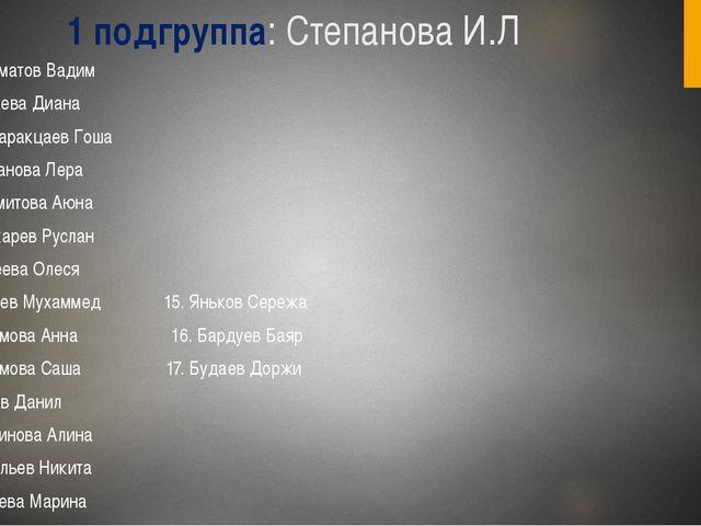 1 подгруппа: Степанова И.Л Абсаматов Вадим Бадаева Диана Банзаракцаев Гоша Га...
