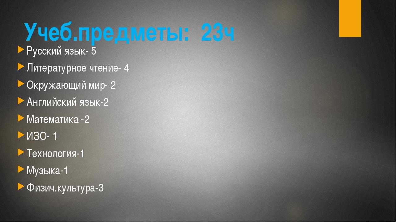 Учеб.предметы: 23ч Русский язык- 5 Литературное чтение- 4 Окружающий мир- 2 А...