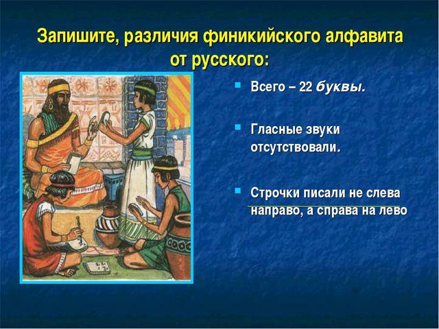 Запишите, различия финикийского алфавита от русского: Всего – 22 буквы. Гласн...
