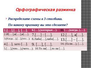 Орфографическая разминка Распределите схемы в 3 столбика.     По какому при