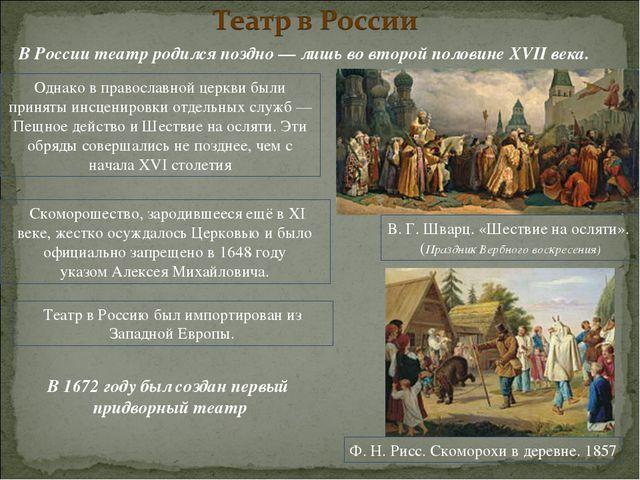 В России театр родился поздно— лишь во второй половине XVII века. Однако вп...