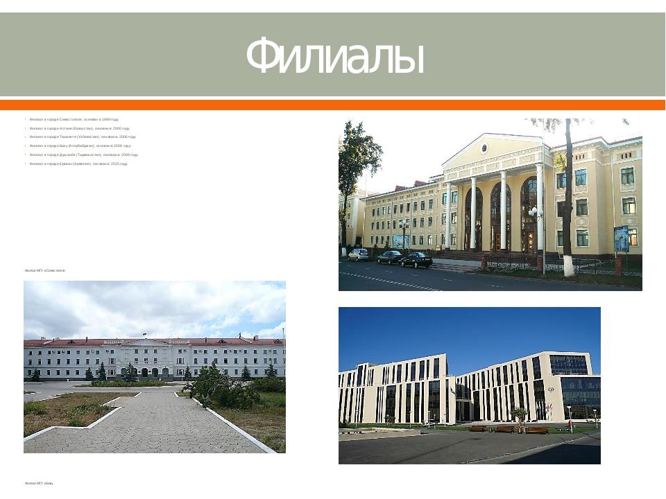 Филиалы Филиал в городе Севастополе, основан в 1999 году. Филиал в городе Аст...