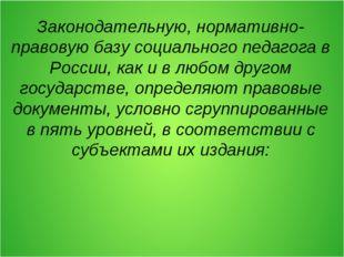 Законодательную, нормативно-правовую базу социального педагога в России, как