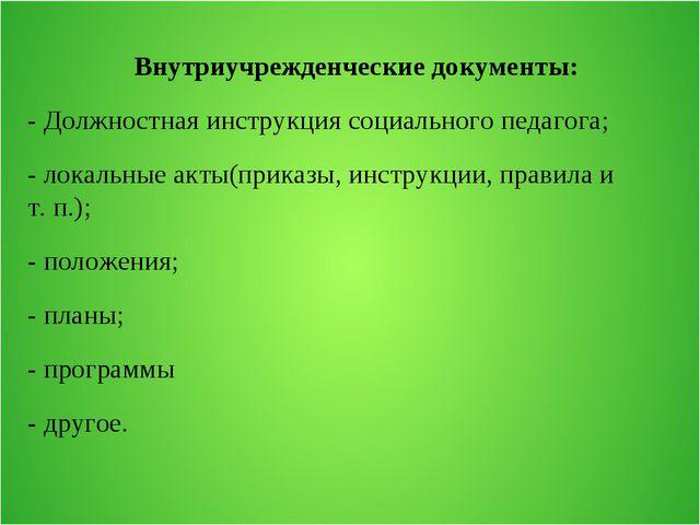 Внутриучрежденческие документы: - Должностная инструкция социального педагог...