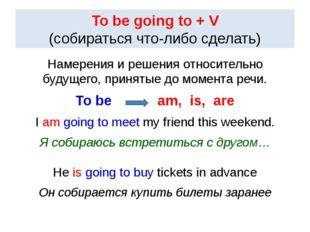 To be going to + V (собираться что-либо сделать) Намерения и решения относите