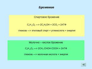 Брожение Спиртовое брожение C6H12O6 —> 2C2H5OH + 2CO2 + 2АТФ глюкоза —> этило