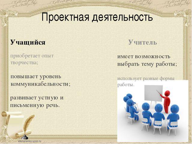 Проектная деятельность Учащийся Учитель приобретает опыт творчества; использу...