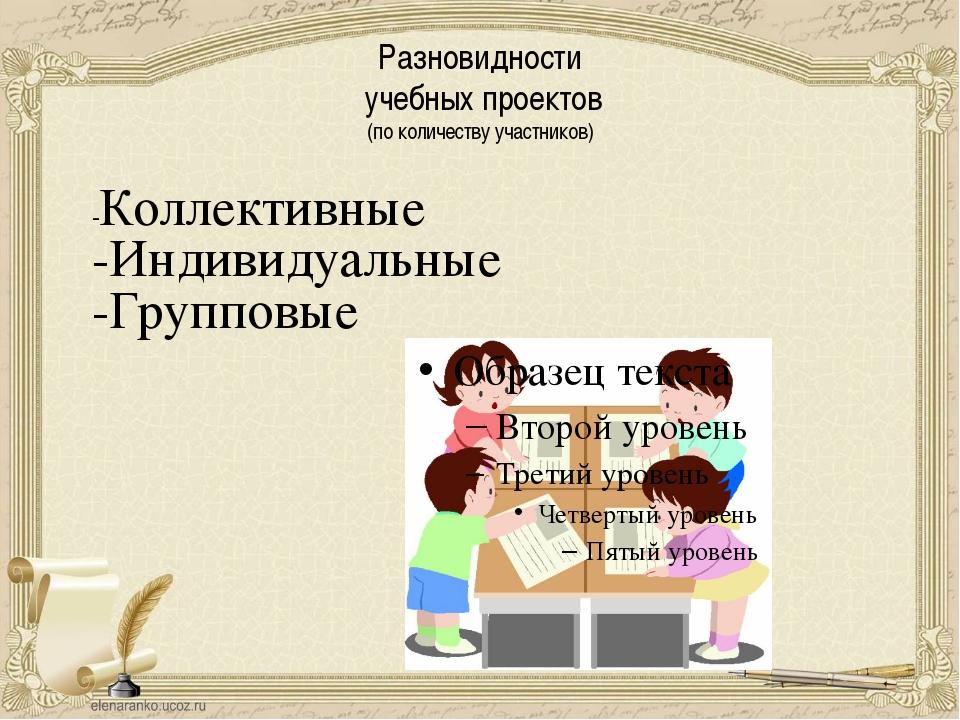 Разновидности учебных проектов (по количеству участников) -Коллективные -Инди...