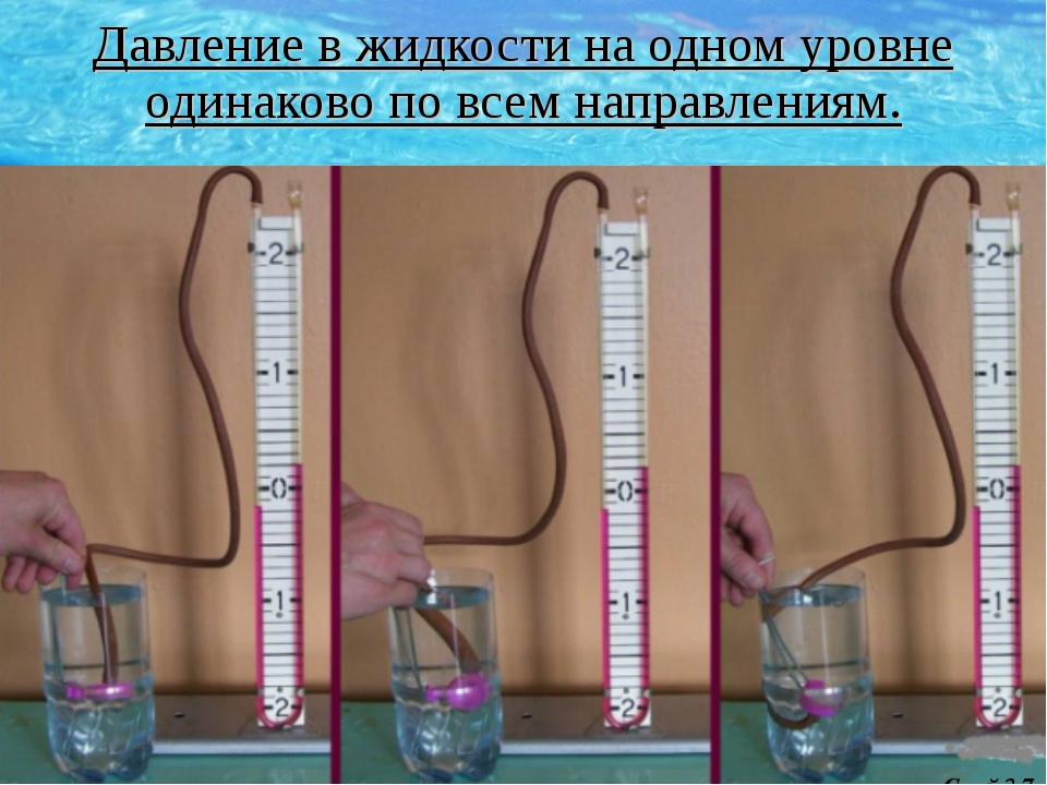 Давление в жидкости на одном уровне одинаково по всем направлениям. Слайд 7