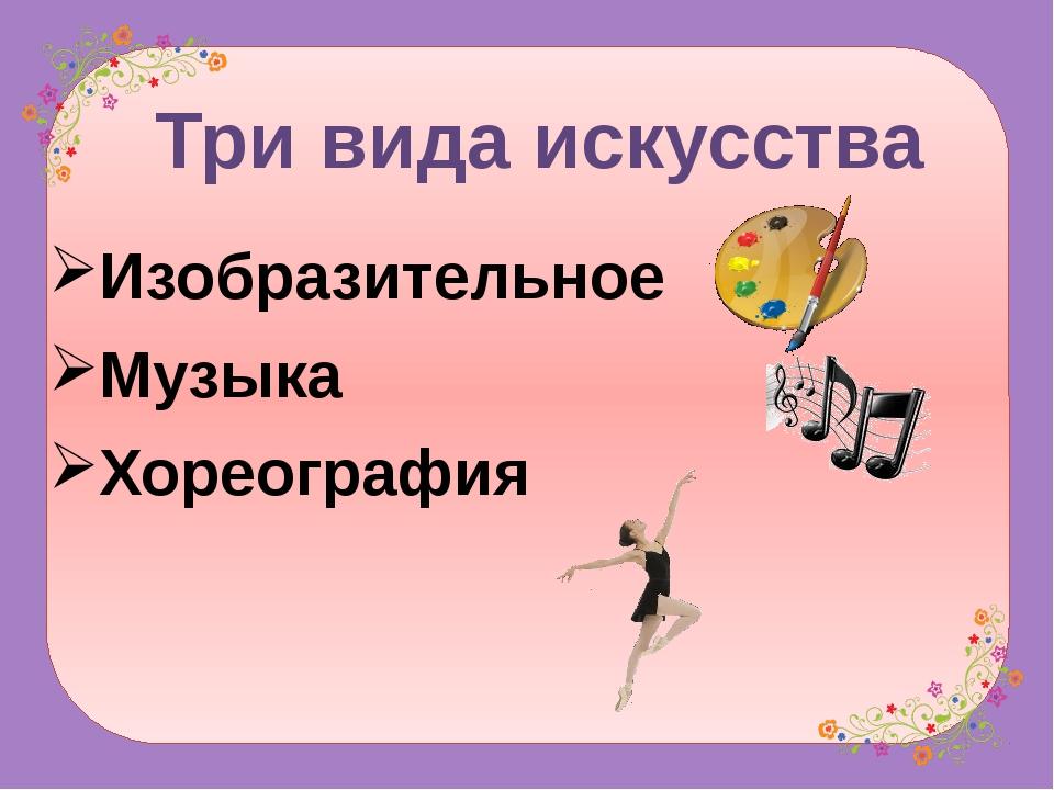 Изобразительное Музыка Хореография Три вида искусства