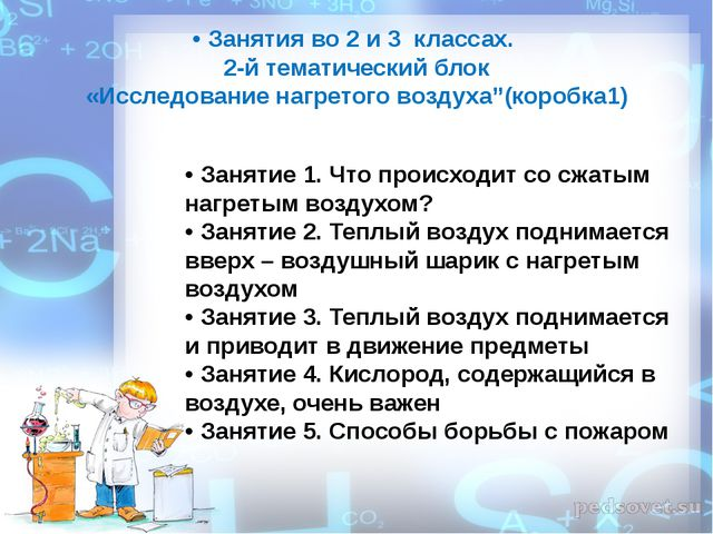 • Занятия во 2 и 3 классах. 2-й тематический блок «Исследование нагретого воз...