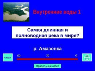 р. Амазонка Самая длинная и полноводная река в мире? Внутренние воды 1 0 30