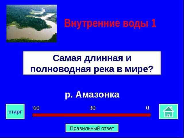 р. Амазонка Самая длинная и полноводная река в мире? Внутренние воды 1 0 30...