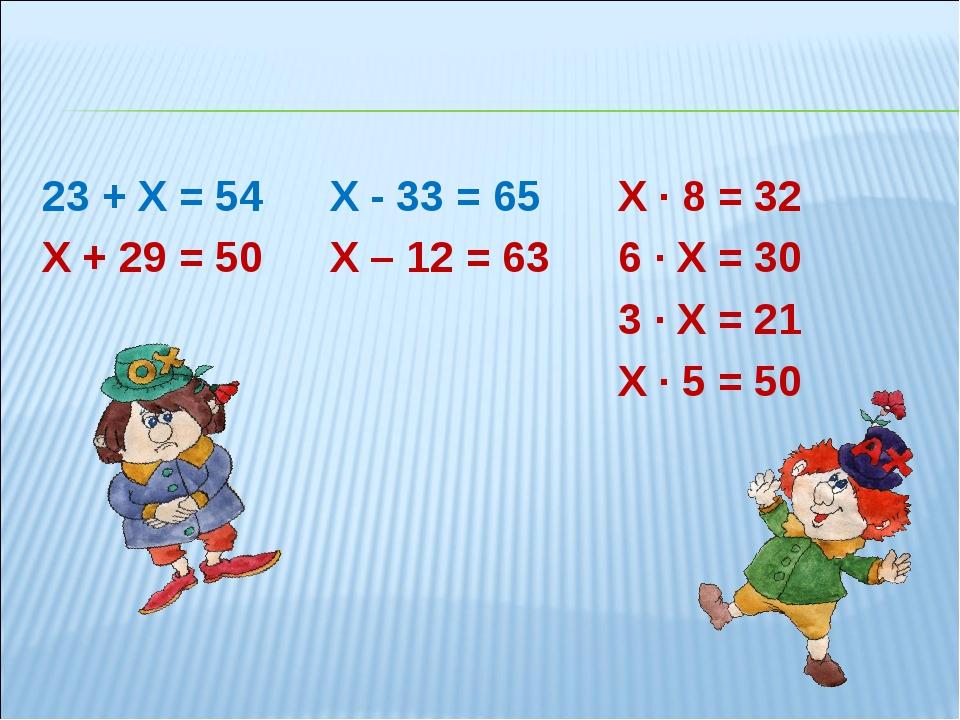 23 + Х = 54Х - 33 = 65Х ∙ 8 = 32 Х + 29 = 50Х – 12 = 63 6 ∙ Х = 30...