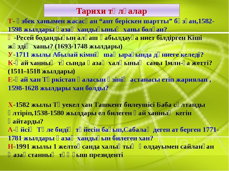 """Тарихи тұлғалар Т- өзбек ханымен жасасқан """"ант беріскен шартты"""" бұзған,1582-1..."""
