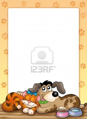 http://us.123rf.com/400wm/400/400/clairev/clairev0910/clairev091000219/5800396-frame-with-cute-cat-and-dog--color-illustration.jpg
