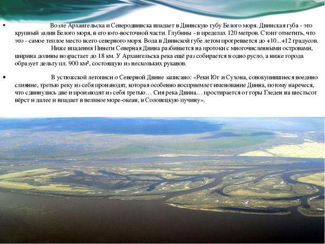 Возле Архангельска и Северодвинска впадает в Двинскую губу Белого моря. Дви...