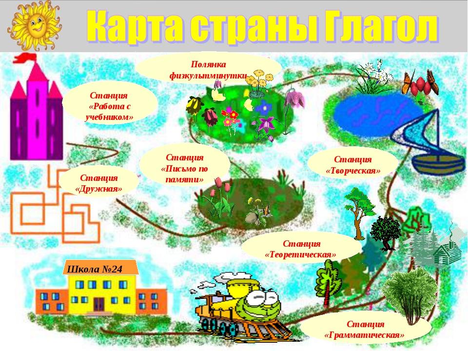 Школа №24 Станция «Грамматическая» Станция «Творческая» Станция «Теоретическа...
