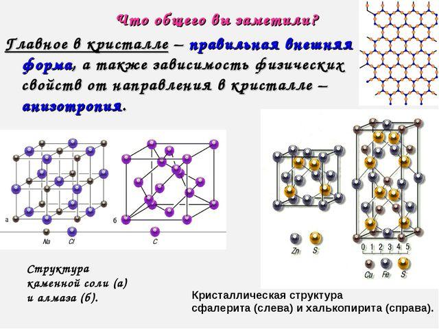 Что общего вы заметили? Главное в кристалле – правильная внешняя форма, а так...