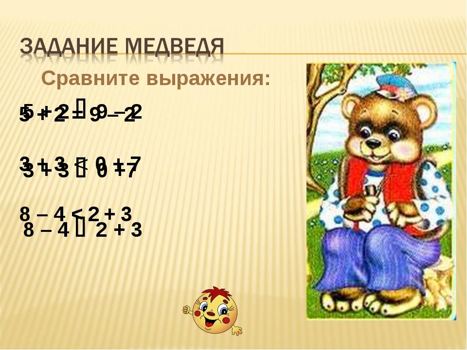 Сравните выражения: 5 + 2  9 – 2 3 + 3  0 +7 8 – 4  2 + 3 5 + 2 = 9 – 2 3...